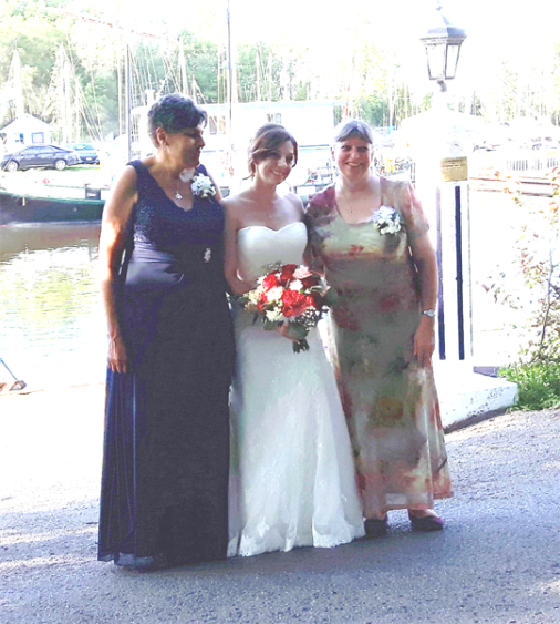 Bride and Mothers at September wedding