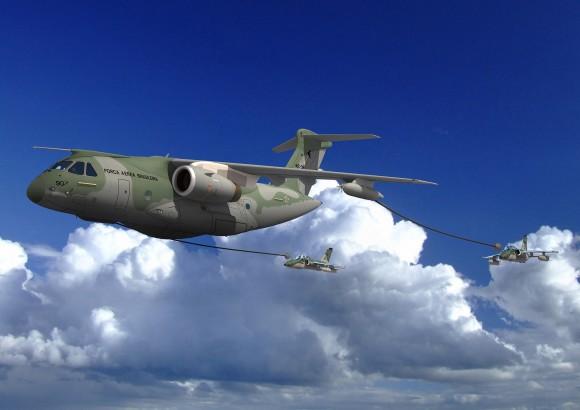 KC-390 reabastecendo A-1 - concepção artística Embraer