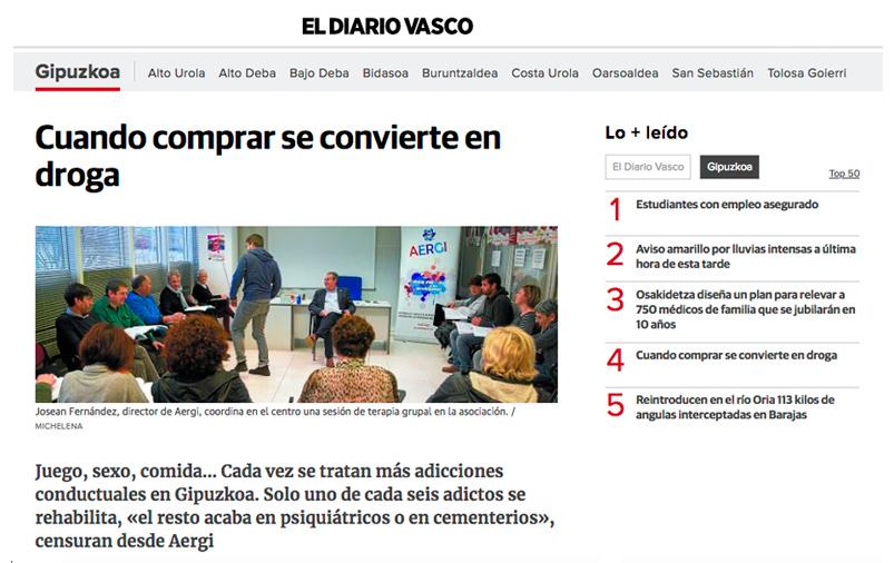 'Cuando comprar se convierte en droga' AERGI en El Diario Vasco