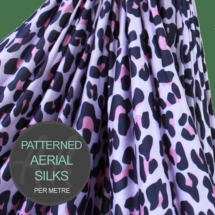 Pink Wild Cat Pattern Aerial Silks Per Metre