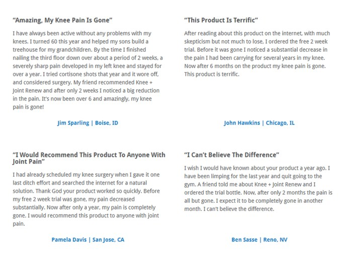 Knee Joint Renew customer reviews