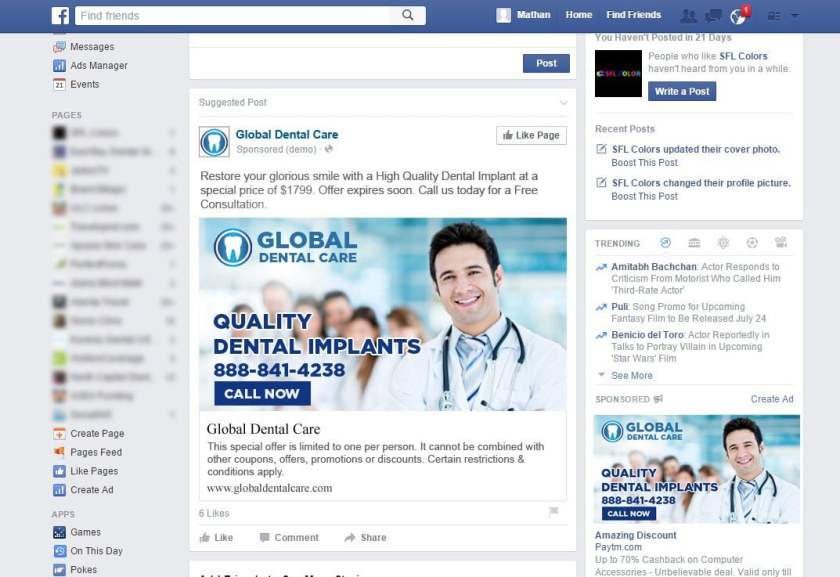 facebook ppc ads for dentists