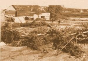 Le terrain lors des inondations de 1958.