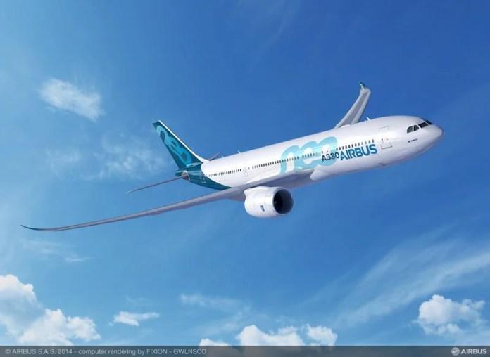 Airbus A330-800neo em projeção. Perceba as asas inspiradas no A350.