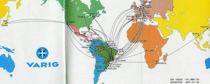 Mapa de rotas da antiga Varig.