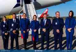 Tripulação do voo inaugural da LATAM no mercado doméstico