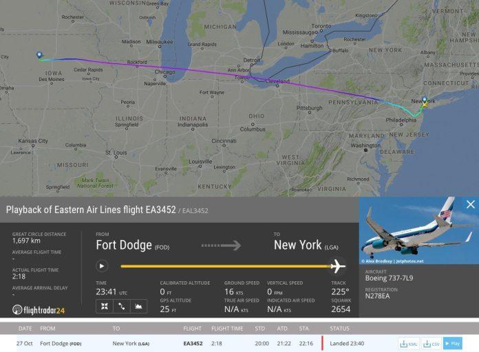 Rota realizada pelo Boeing 737.