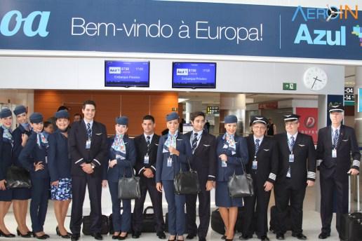 Tripulantes Azul Voo Lisboa Inaugural