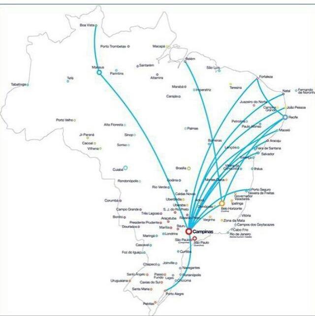 mapa rotas A320neo Azul