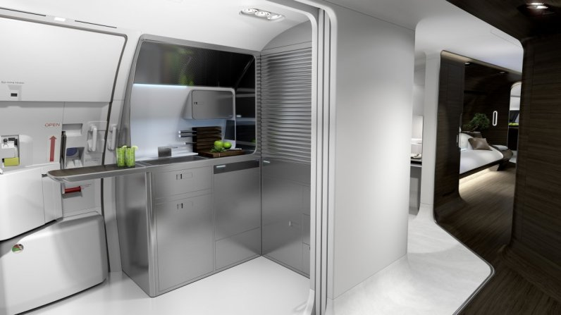 when-you-walk-into-the-front-of-the-plane-you-will-see-an-area-with-a-kitchen-as-well-as-some-additional-seating-the-kitchen-area-has-a-mini-bar-and-comes-with-an-electric-stove-top