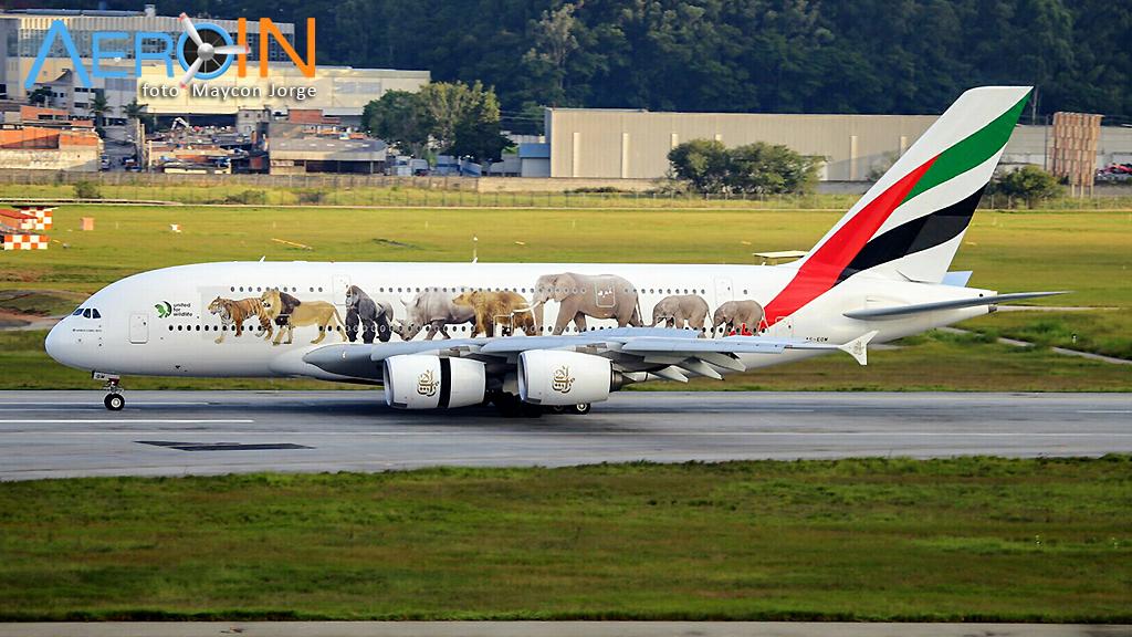 Chega em GRU o primeiro voo regular do Airbus A380 no Brasil.