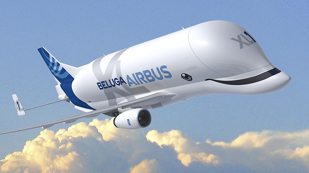 Funcionários da Airbus desenham uma Baleia no novo BelugaXL.