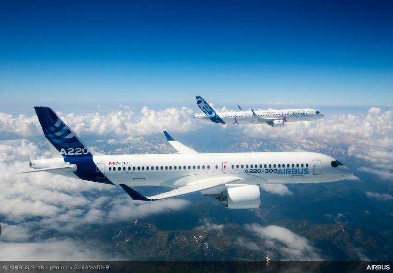 Avião Airbus A220 Foto Aérea