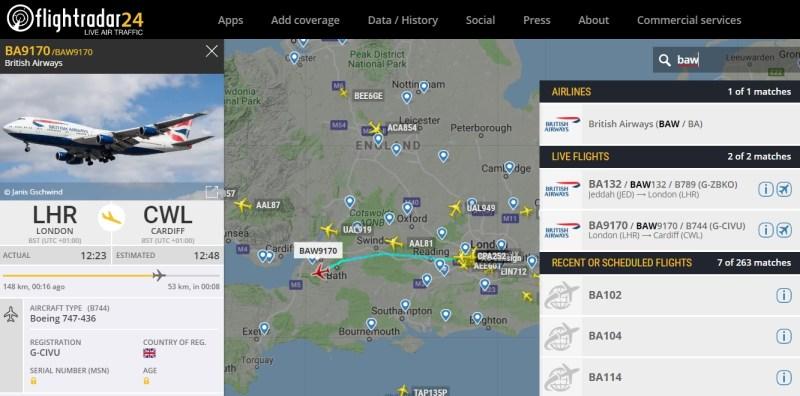 FlightRadar24 British Flights