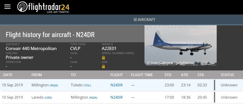 FlightRadar24 Convair Crash Toledo