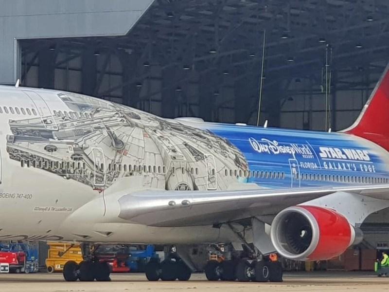 Boeing 747 da Virgin Atlantic recebe pintura da Millenium Falcon de Star Wars