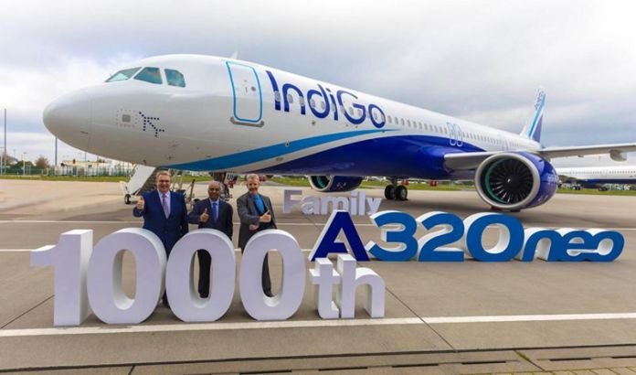 Avião Airbus A321neo IndiGo 1000º