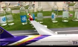 Aeroporto Miniatura Jingle Natal A380 Papai Noel Garrafas