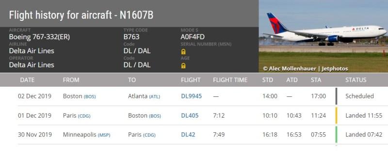 FlightRadar24 Histórico 767 N1607B