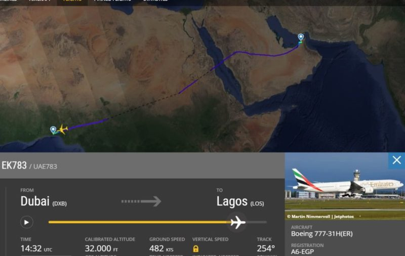 Flight Radar 24 Voo EK783 Dubai Lagos