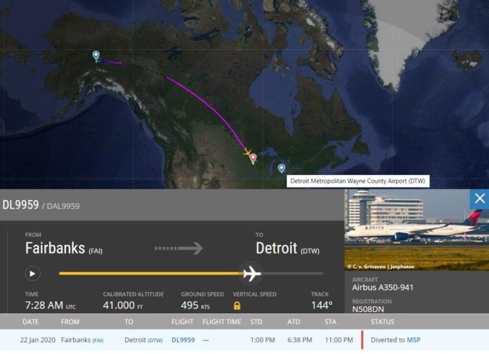 FlightRadar24 Delta A350 Desvio MSP