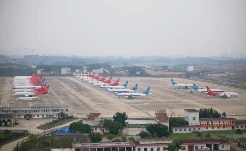 Aviões Parados Aeroporto Nanning China Coronavírus