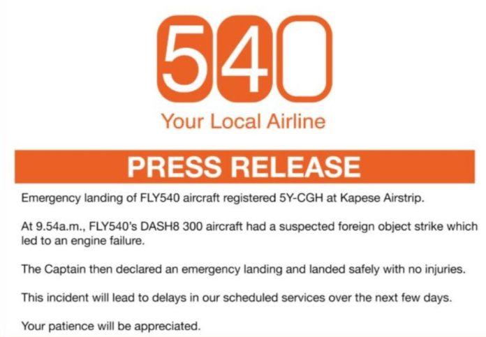 Fly 540 Pouso Emergência Quênia Press Release