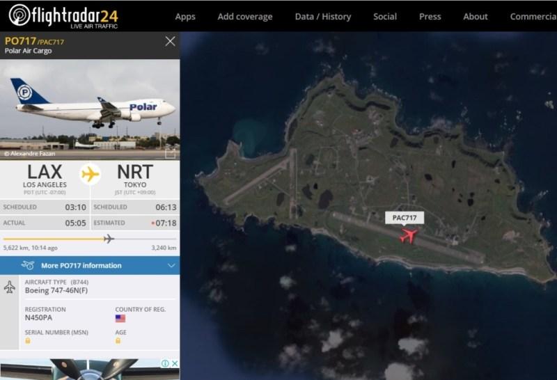FlightRadar24 Voo Boeing 747 Polar Pouso Shemya