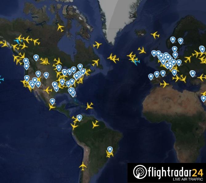 FlightRadar24 Jumbos Boeing 747 ao redor do mundo