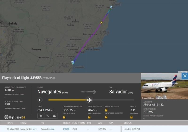 FlightRadar24 Voo A319 LATAM Cargueiro Navegantes Salvador