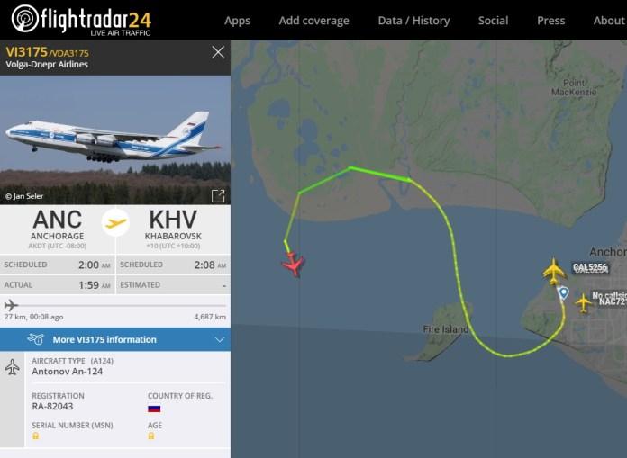 FlightRadar24 Voo Emergência Antonov AN-124 Anchorage