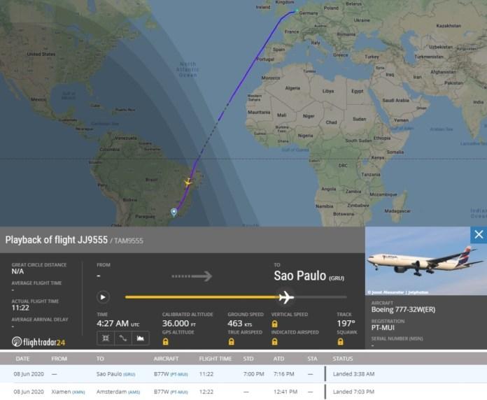 FlightRadar24 Voo Latam China Brasil Máscaras
