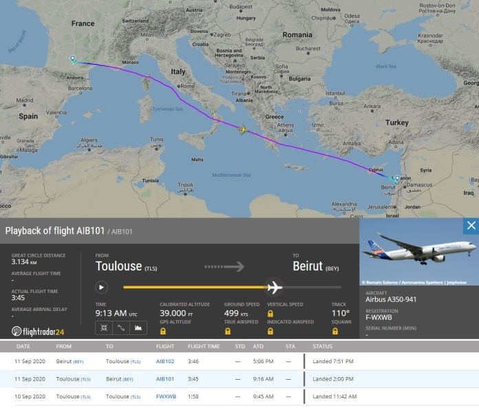 FlightRadar24 Voo Airbus A350 Ajuda Beirute