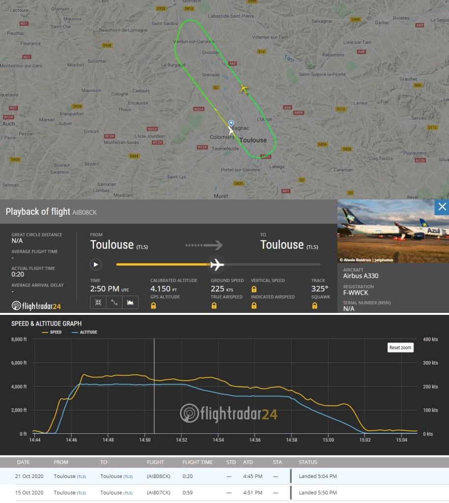 FlightRadar24 Voo Teste A330neo PR-ANX Azul