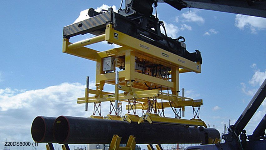 A vacuum lifter engineered to handle six pipes at the same time
