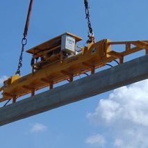 During the construction of a stadium, this vacuum lifter of Aerolift handled stand elements