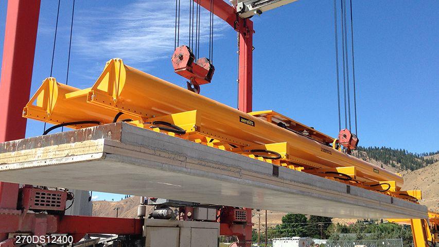 Aerolift vacuum lifter to handle concrete elements