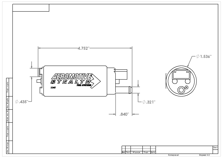 340 Fuel Pump Offset Inlet Aeromotive Inc