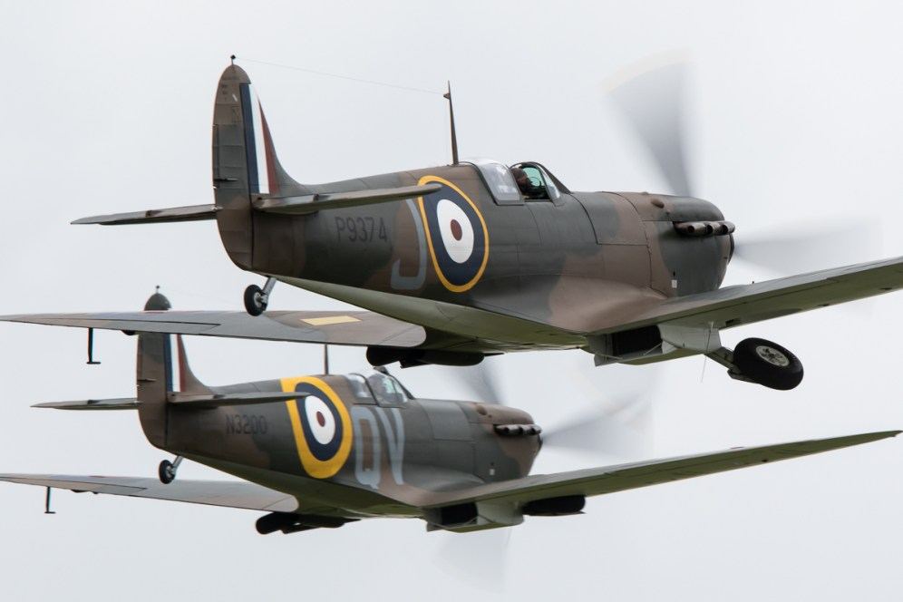 © Adam Duffield • Spitfire Mk1 pair • Duxford VE Day 70th Anniversary Airshow