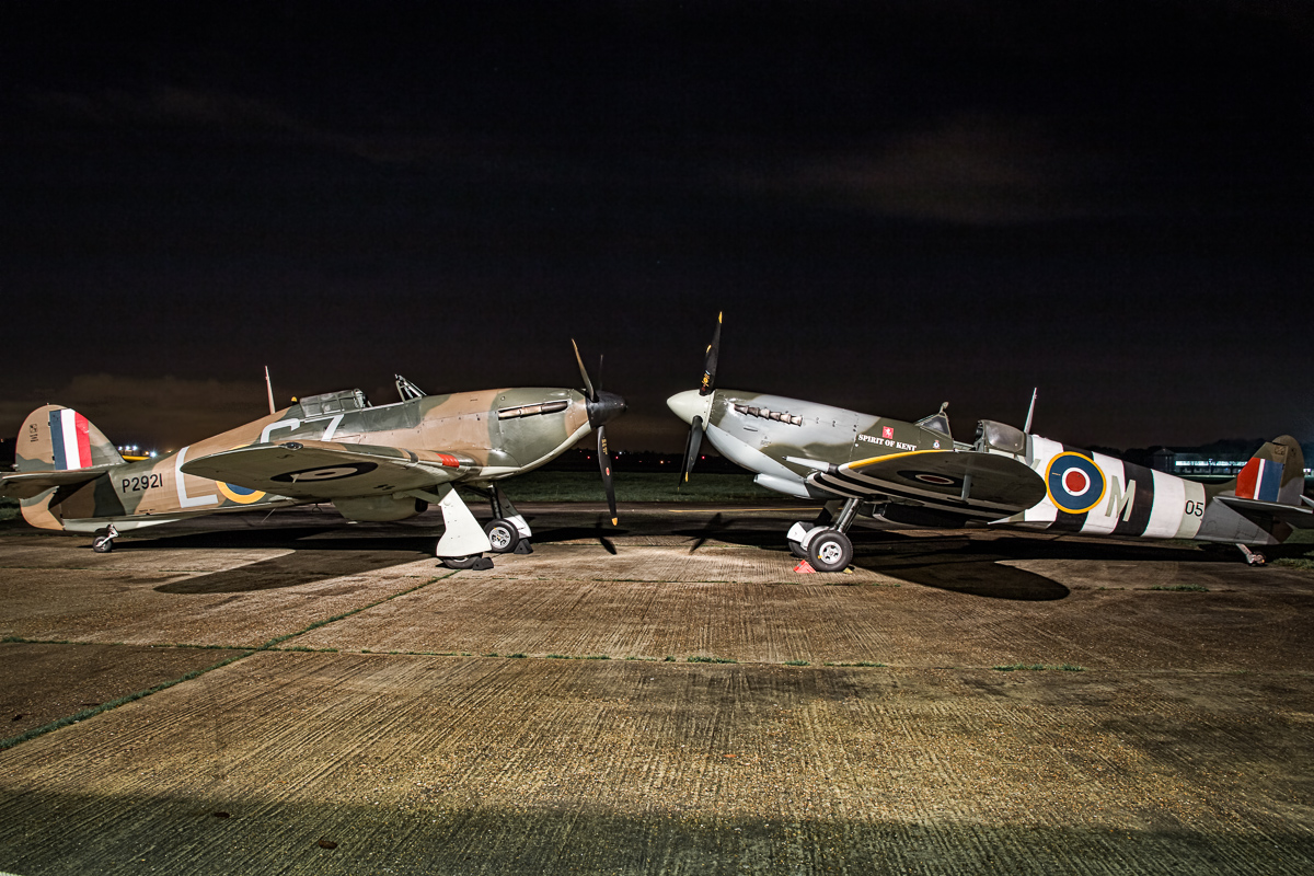 © Paul Smith • Spitfire MkIX TA805 'Spirit of Kent' & Hurricane MkI AE977 • Biggin Hill Heritage Hangar Nightshoot