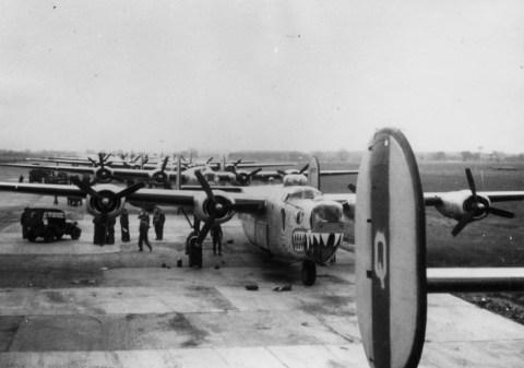 © Roger Freeman Collection / http://www.americanairmuseum.com - B-24 Liberators, including a one with a shark mouth, of the 93rd Bomb Group lined up on hardstanding, 20 May 1945 - 93rd Bomb Group Museum