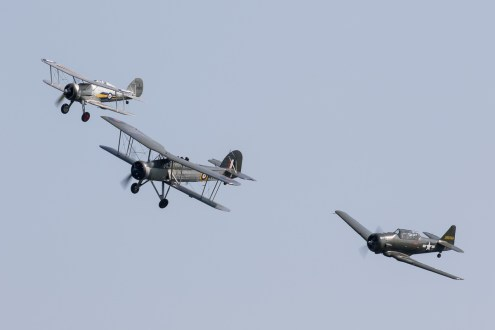 © Adam Duffield - Swordfish, Texan and Gladiator Formation - Shuttleworth Fly Navy Air Show 2016