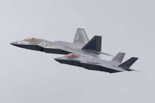 © Michael Lovering - USAF Heritage Flight F-22A and F-35A - Royal International Air Tattoo 2016