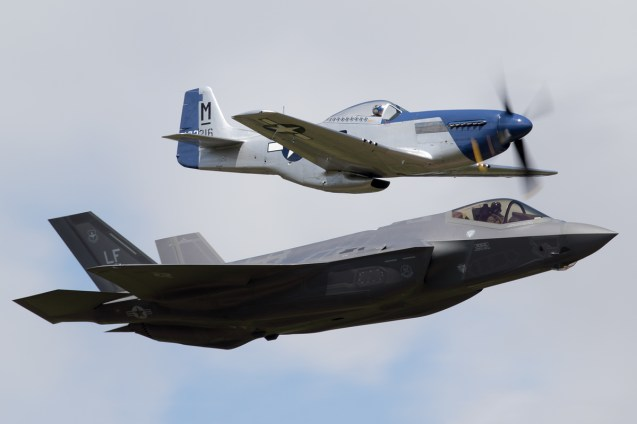 © Michael Lovering - USAF Heritage Flight P-51D Mustang and F-35A - Royal International Air Tattoo 2016