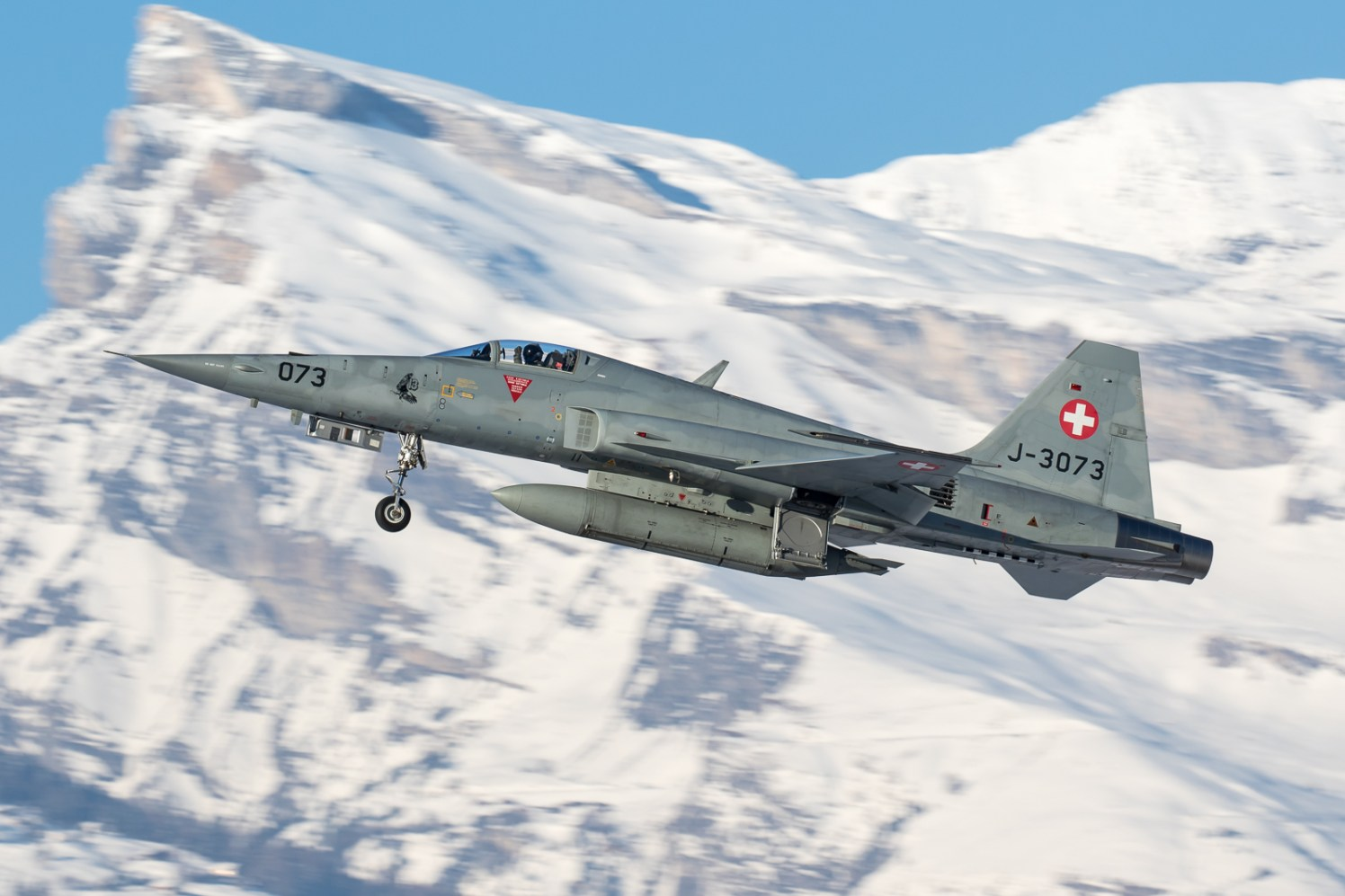 © Adam Duffield - F-5E J-3073 departs from Sion for another training mission - World Economic Forum Air Policing