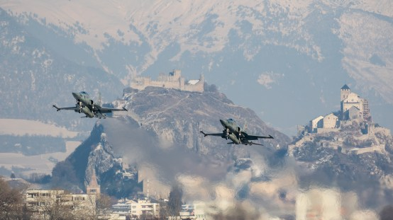 © Adam Duffield - A classic Sion view with the castles of Valère and Tourbillon in the background - World Economic Forum Air Policing