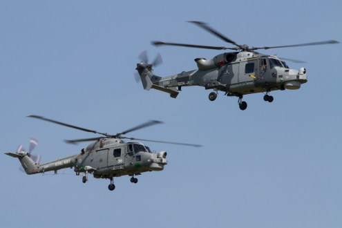 © Adam Duffield - The new and the old - a Lynx HMA8 follows its replacement, Wildcat HMA2 - Royal Navy Lynx Retirement