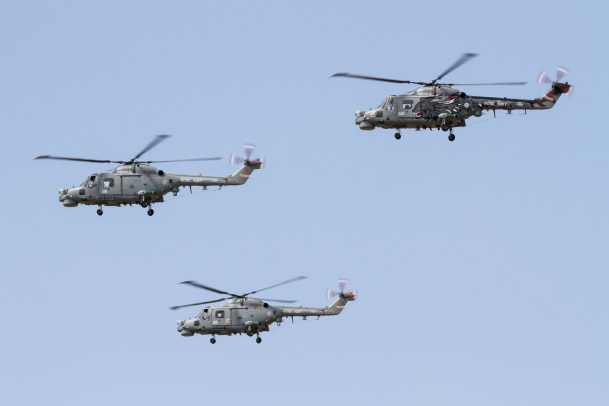 © Adam Duffield - A trio of Lynx HMA8's during Yeovilton Airshow 2013 (XZ692, XZ697 and ZD565) - Royal Navy Lynx Retirement