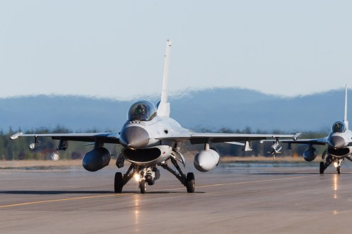 © Mark McGrath - A pair of KF-16D-52 from the 20th FW RoKAF taxi out during Red Flag Alaska 17-2 - Red Flag Alaska 17-2