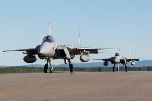© Mark McGrath - A pair of F-15J (52-8953 & 12-8923) from 201 Hikotai, JASDF taxi out during Red Flag Alaska 17-2 - Red Flag Alaska 17-2